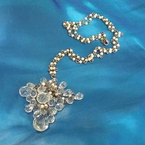 Faux Pearl Chain Glass Crystal  Cluster Necklace
